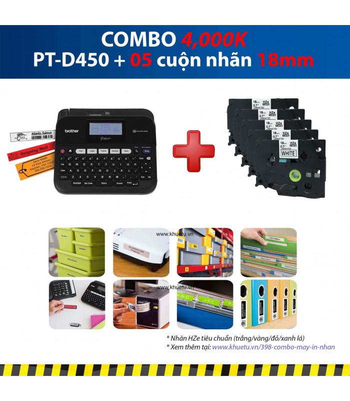 Combo: PT-D450 + 5 Cuộn nhãn 18mm | Máy in nhãn Brother | khuetu.vn
