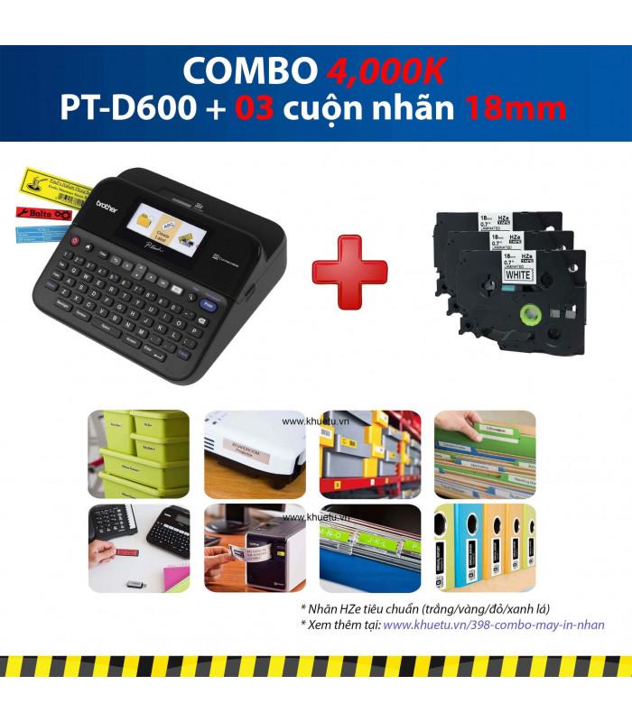 Combo: PT-D600 + 3 Cuộn nhãn 18mm | Máy in nhãn Brother | khuetu.vn