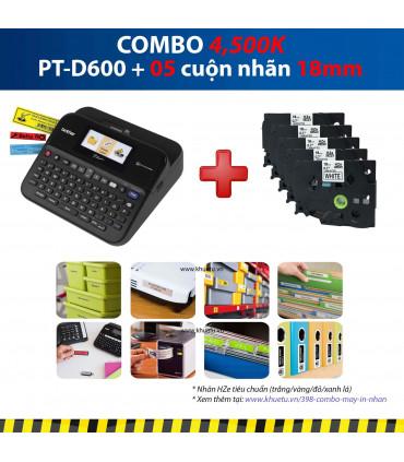 Combo: PT-D600 + 5 Cuộn nhãn 18mm
