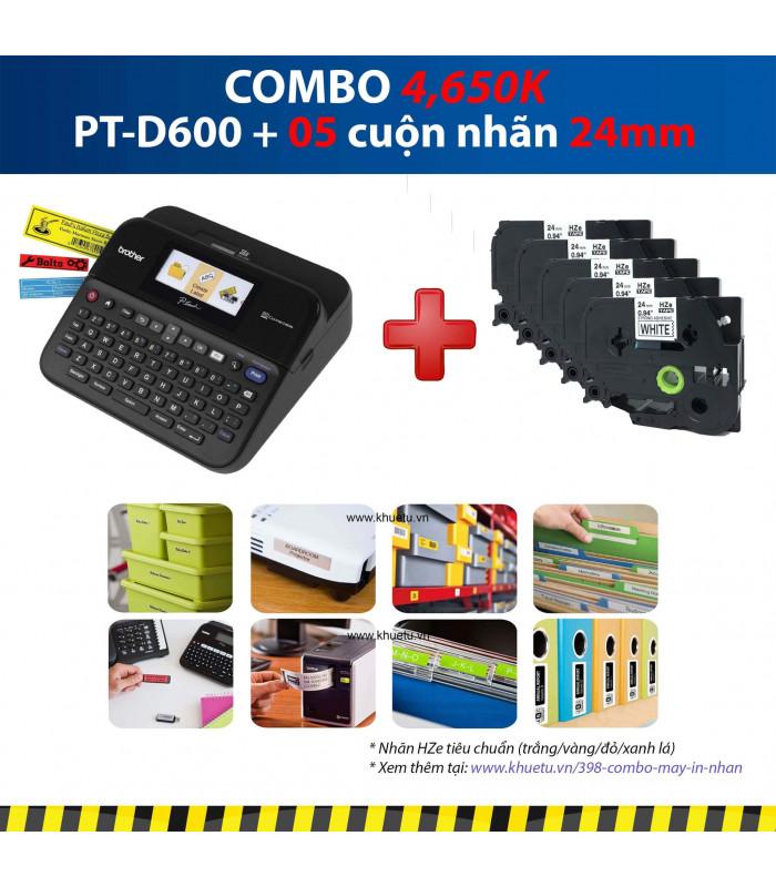 Combo: PT-D600 + 5 Cuộn nhãn 24mm | Máy in nhãn Brother | khuetu.vn