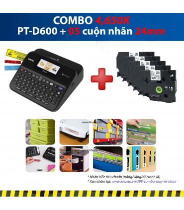 Combo: PT-D600 + 5 Cuộn nhãn 24mm