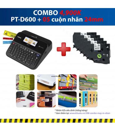 Combo: PT-D600 + 5 Cuộn nhãn 24mm (siêu dính)