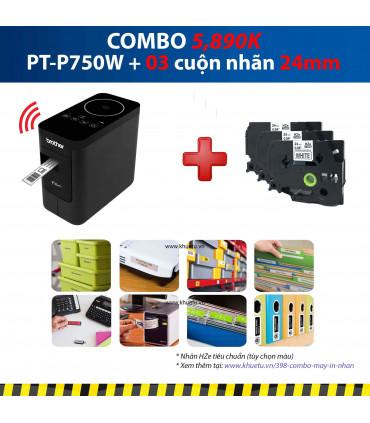 Combo: PT-P750W + 3 Cuộn nhãn 24mm