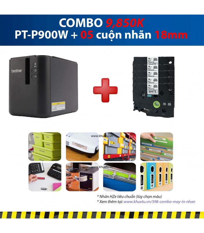 Combo: PT-P900W + 5 Cuộn nhãn 18mm | Máy in nhãn Brother | khuetu.vn