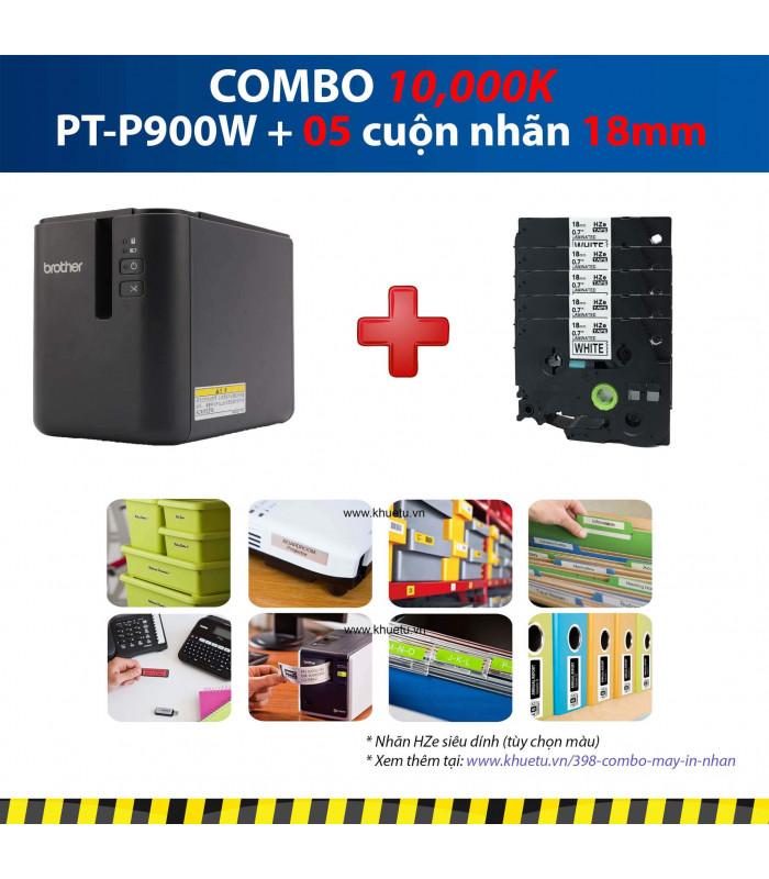 Combo: PT-P900W + 5 Cuộn nhãn 18mm (siêu dính) | Máy in nhãn Brother | khuetu.vn