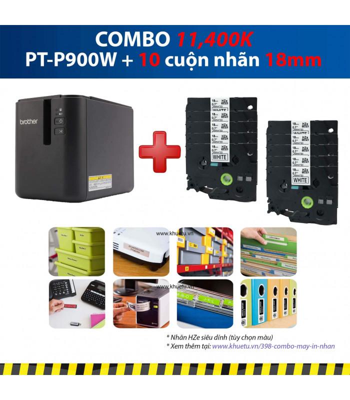 Combo: PT-P900W + 10 Cuộn nhãn 18mm (siêu dính) | Máy in nhãn Brother | khuetu.vn