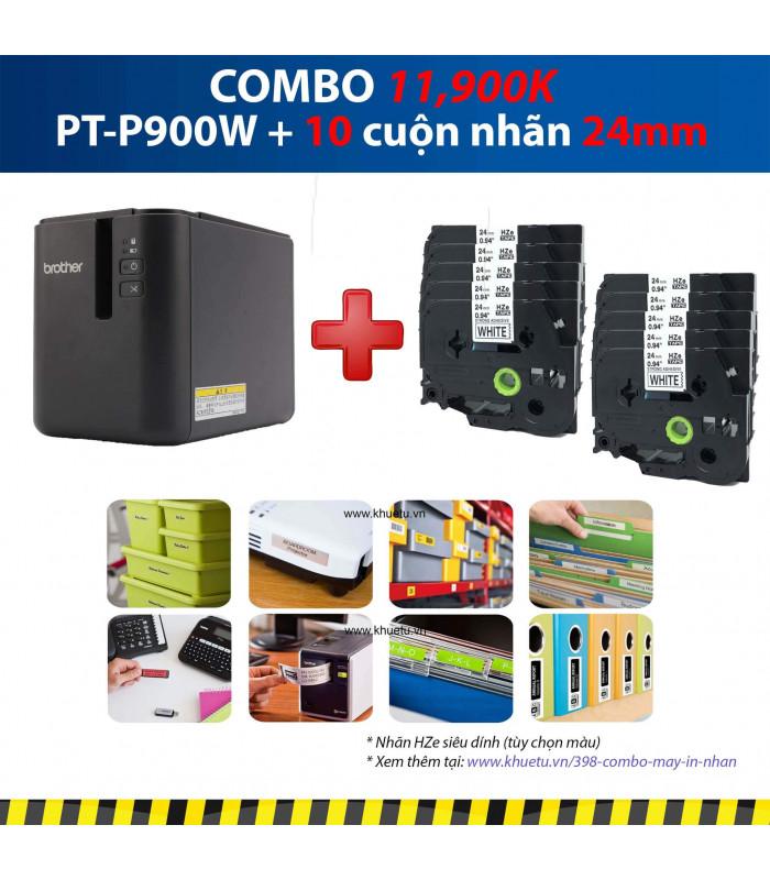 Combo: PT-P900W + 10 Cuộn nhãn 24mm (siêu dính) | Máy in nhãn Brother | khuetu.vn