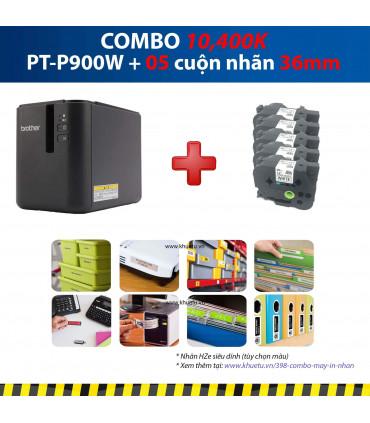 Combo: PT-P900W + 5 Cuộn nhãn 36mm (siêu dính)