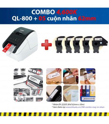 Combo: QL-800 + 5 Cuộn nhãn 62mm