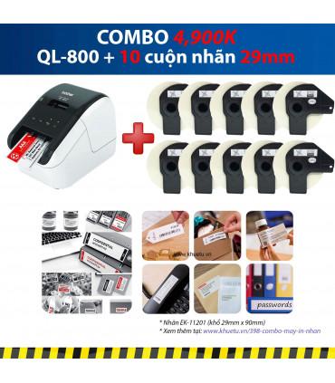 Combo: QL-800 + 10 Cuộn nhãn 29mm