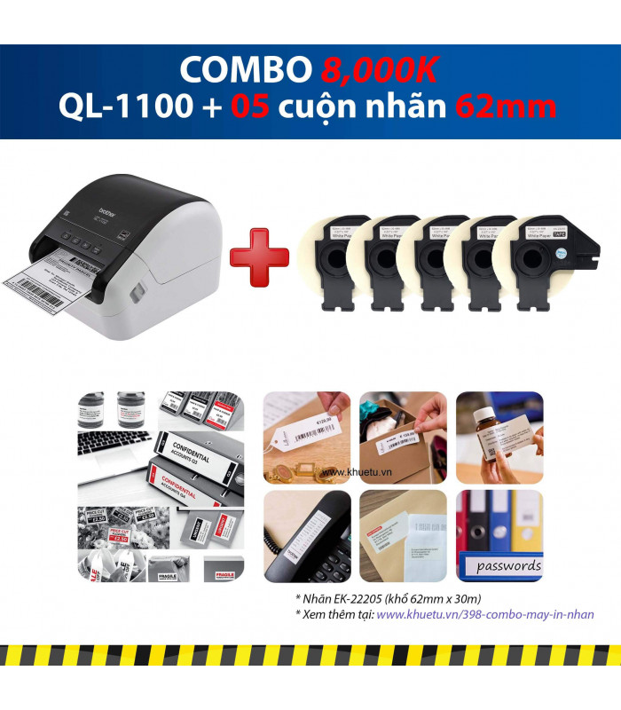 Combo: QL-1100 + 5 Cuộn nhãn 62mm   Máy in nhãn Brother   khuetu.vn