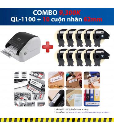 Combo: QL-1100 + 10 Cuộn nhãn 62mm