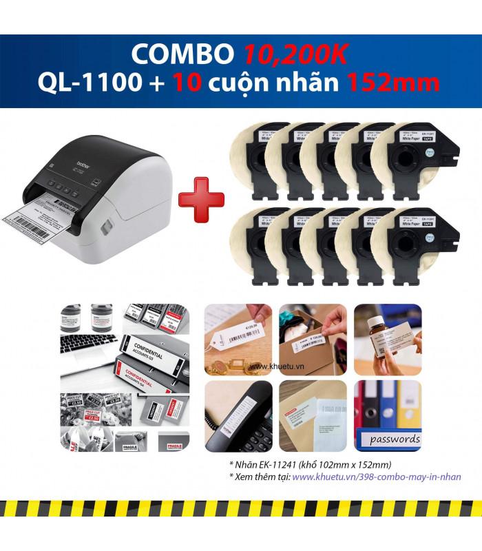 Combo: QL-1100 + 10 Cuộn nhãn 152mm | Máy in nhãn Brother | khuetu.vn
