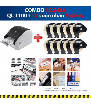 Combo: QL-1100 + 10 Cuộn nhãn 152mm