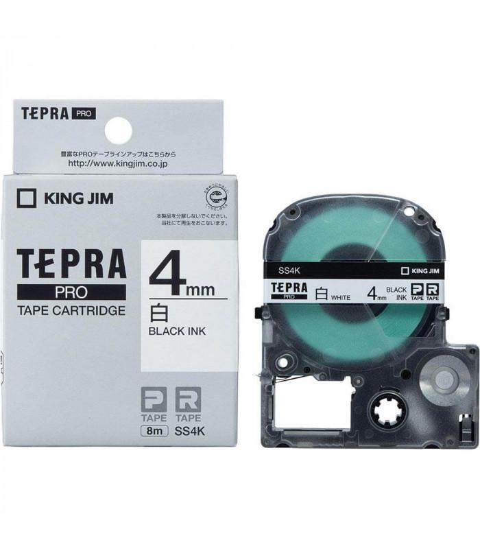 Băng nhãn in Tepra SS4K (Chữ đen nền trắng, khổ 4mm) | Băng nhãn Tepra khổ 4mm | khuetu.vn