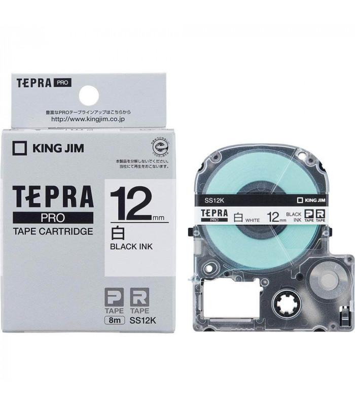 Băng nhãn in Tepra SS12K (Chữ đen nền trắng, khổ 12mm) | Băng nhãn Tepra khổ 12mm | khuetu.vn
