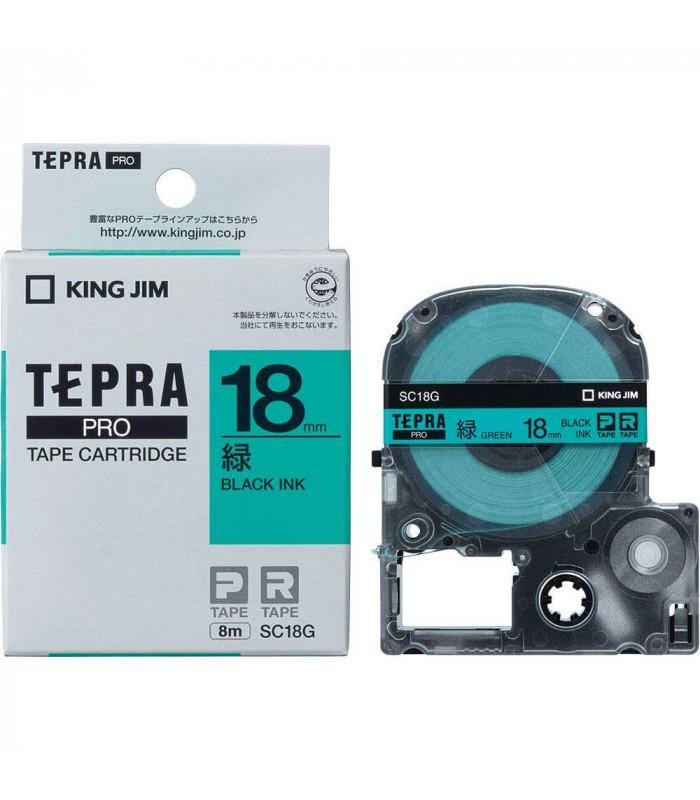 Băng nhãn in Tepra SC18G (Chữ đen nền xanh lá, khổ 18mm) | Băng nhãn Tepra khổ 18mm | khuetu.vn
