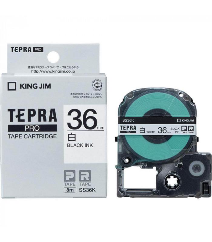 Băng nhãn in Tepra SS36K (Chữ đen nền trắng, khổ 36mm) | Băng nhãn Tepra khổ 36mm | khuetu.vn