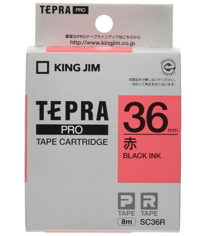 Băng nhãn in Tepra SC36R (Chữ đen nền đỏ, khổ 36mm) | Băng nhãn Tepra khổ 36mm | khuetu.vn