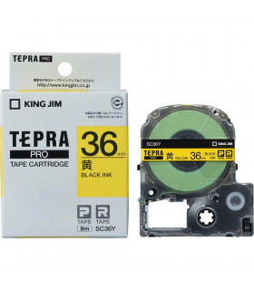 Tepra SC36Y (Chữ đen nền vàng, khổ 36mm)