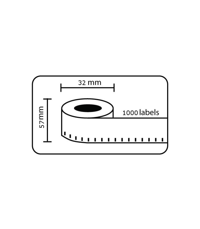 Băng nhãn in DM-A11354, Black on White, 32mm x 57mm x 1000 labels | Nhãn Cho Máy Dymo | khuetu.vn