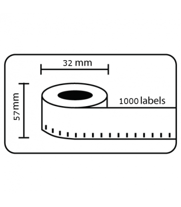 DM-A11354, Black on White, 32mm x 57mm x 1000 labels