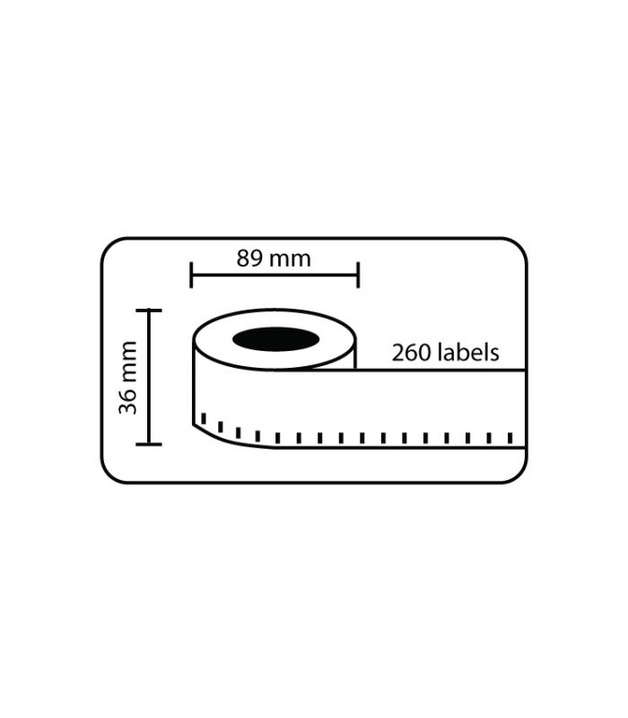 Băng nhãn in DM-A99012, Black on White, 89mm x 36mm x 260 labels | Nhãn giấy máy LabelWriter | khuetu.vn