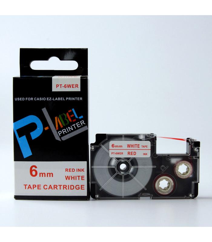 Băng nhãn in PT-6WER (Red on White, 6mm) | Khổ 6mm tương thích nhãn Casio XR | khuetu.vn