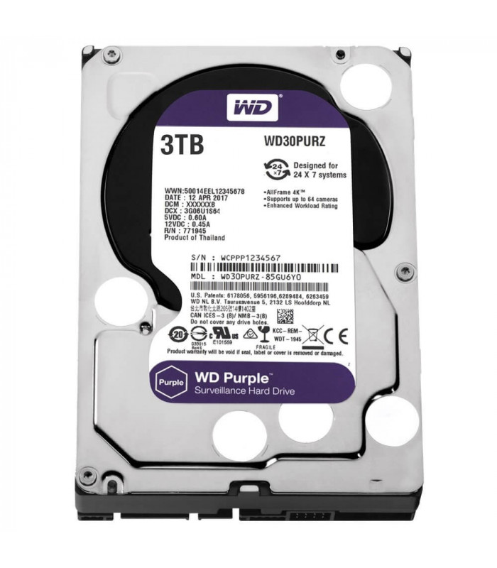 Ổ cứng chuyên dụng WD PURPLE 3TB 3.5 Inch SATA HDD 5400rpm 64MB Cache (WD30PURZ) | HDD cho NVR | WESTERN DIGITAL | khuetu.vn