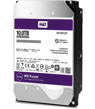WD PURPLE 10TB 3.5 Inch SATA HDD 5400rpm 128MB Cache (WD100PURZ)