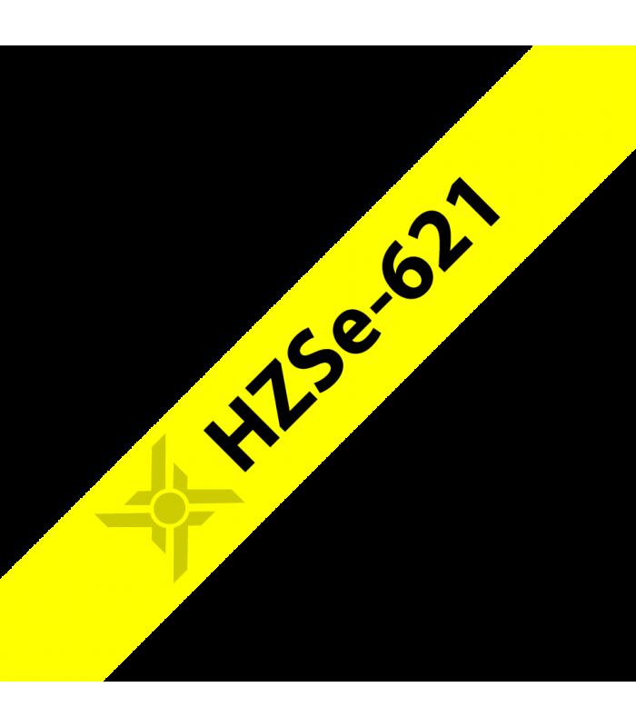 Băng nhãn in Ống co nhiệt HZSe-621, khổ 9mm x 1,5m, cáp 2.6-5.1mm, màu vàng | Ống co nhiệt HZSe cho máy Brother | khuetu.vn
