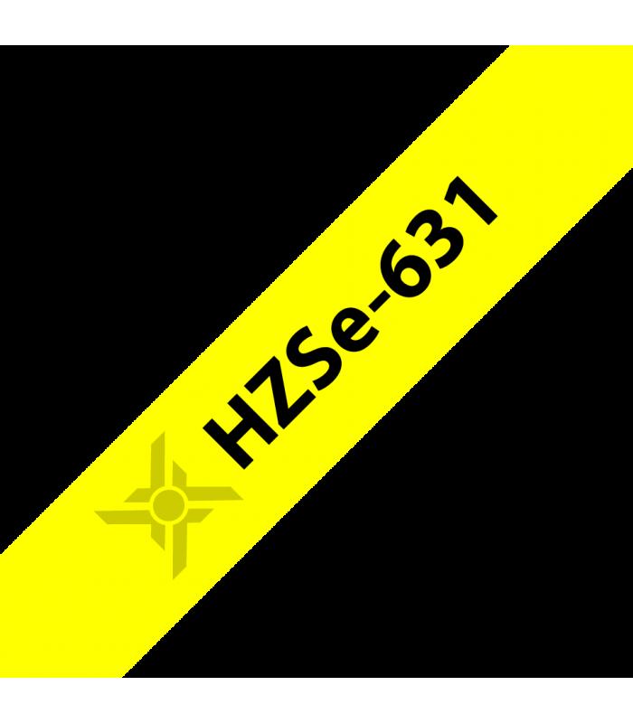 Băng nhãn in Ống co nhiệt HZSe-631, khổ 12mm x 1,5m, cáp 3.6-7.0mm, màu vàng | Ống co nhiệt HZSe cho máy Brother | khuetu.vn