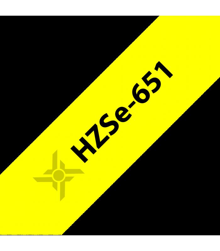 Băng nhãn in Ống co nhiệt HZSe-651, khổ 24mm x 1,5m, cáp 7.3-14.3mm, màu vàng | Ống co nhiệt HZSe cho máy Brother | khuetu.vn