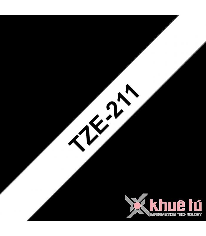 Băng nhãn in Brother TZe-211, khổ 6mm, dài 8m, Black on White, chống thấm nước | Nhãn TZe tiêu chuẩn | khuetu.vn