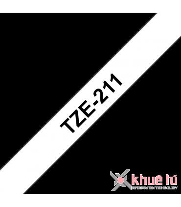 Brother TZe-211, khổ 6mm, dài 8m, Black on White, chống thấm nước