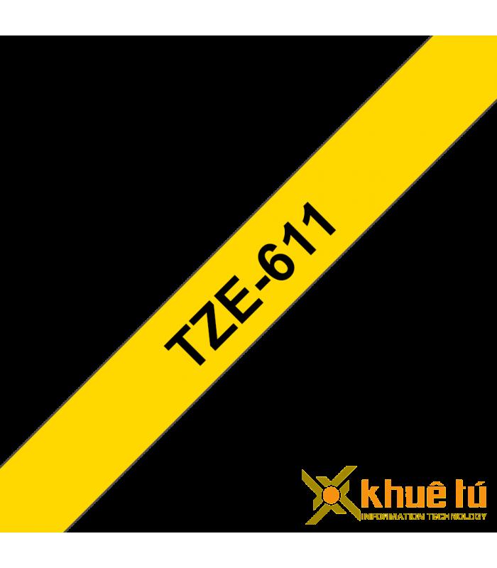 Băng nhãn in Brother TZe-611, khổ 6mm, dài 8m, Black on Yellow, chống thấm nước | Nhãn TZe tiêu chuẩn | khuetu.vn
