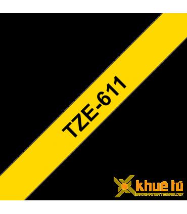 Brother TZe-611, khổ 6mm, dài 8m, Black on Yellow, chống thấm nước