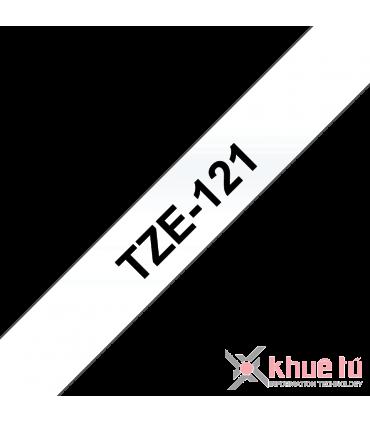 Brother TZe-121, khổ 9mm, dài 8m, Black on Clear, chống thấm nước
