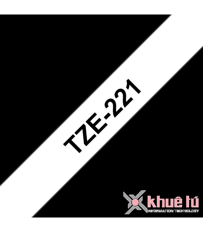 Băng nhãn in Brother TZe-221, khổ 9mm, dài 8m, Black on White, chống thấm nước | Nhãn TZe tiêu chuẩn | khuetu.vn
