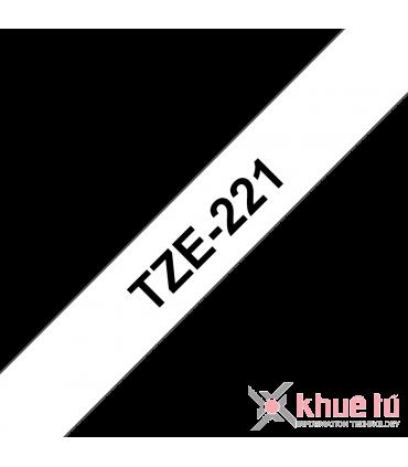 Brother TZe-221, khổ 9mm, dài 8m, Black on White, chống thấm nước