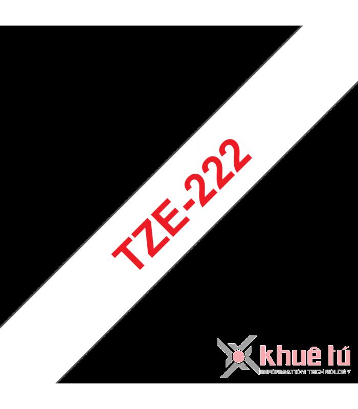 Băng nhãn in Brother TZe-222, khổ 9mm, dài 8m, Red on White, chống thấm nước | Nhãn TZe tiêu chuẩn | khuetu.vn