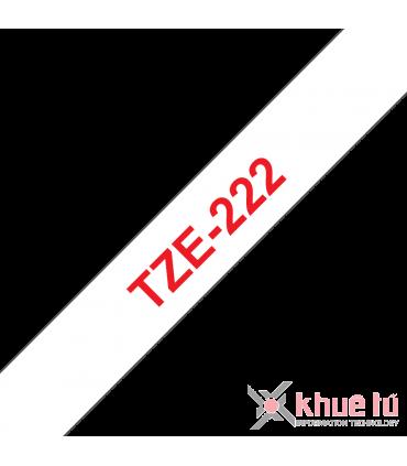 Brother TZe-222, khổ 9mm, dài 8m, Red on White, chống thấm nước