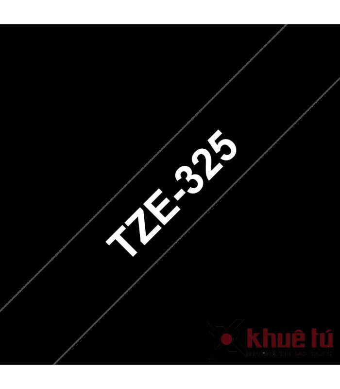 Băng nhãn in Brother TZe-325, khổ 9mm, dài 8m, White on Black, chống thấm nước | Nhãn TZe tiêu chuẩn | khuetu.vn