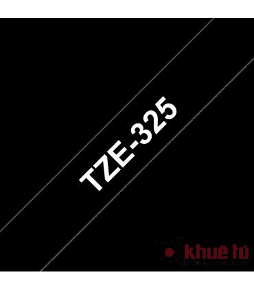 Brother TZe-325, khổ 9mm, dài 8m, White on Black, chống thấm nước