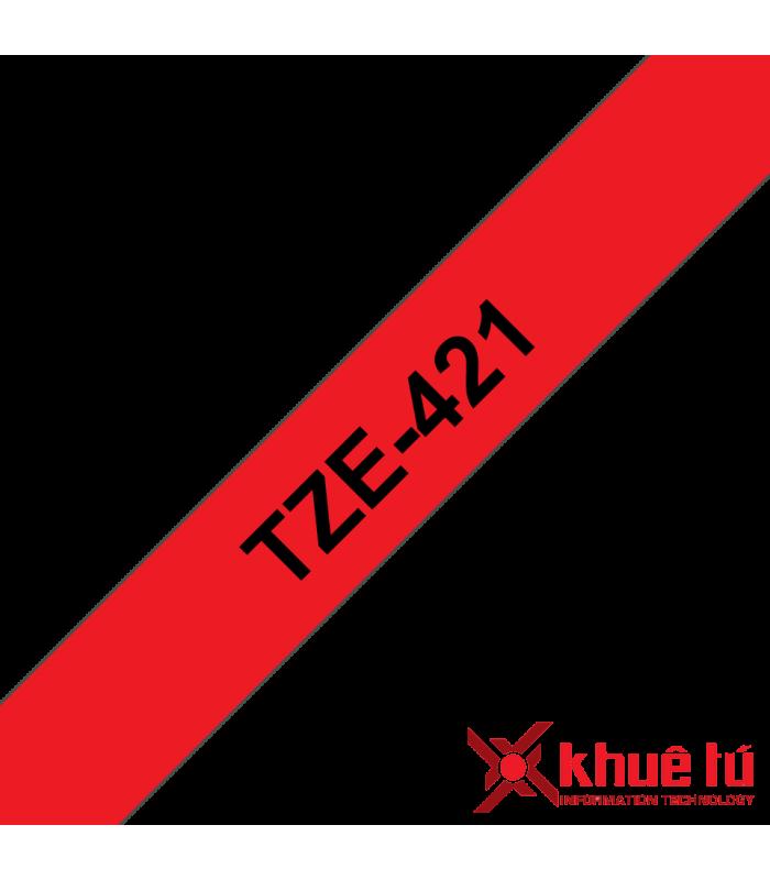 Băng nhãn in Brother TZe-421, khổ 9mm, dài 8m, Black on Red, chống thấm nước | Nhãn TZe tiêu chuẩn | khuetu.vn