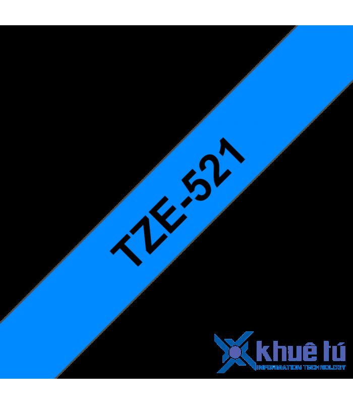 Băng nhãn in Brother TZe-521, khổ 9mm, dài 8m, Black on Blue, chống thấm nước | Nhãn TZe tiêu chuẩn | khuetu.vn