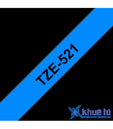 Brother TZe-521, khổ 9mm, dài 8m, Black on Blue, chống thấm nước