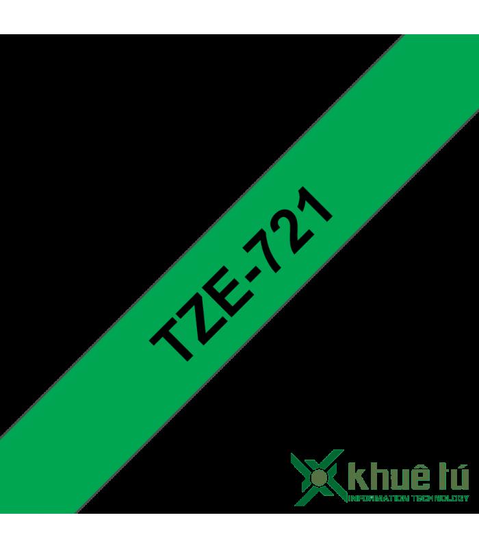 Băng nhãn in Brother TZe-721, khổ 9mm, dài 8m, Black on Green, chống thấm nước | Nhãn TZe tiêu chuẩn | khuetu.vn