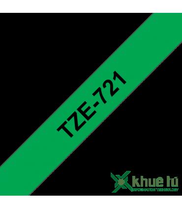 Brother TZe-721, khổ 9mm, dài 8m, Black on Green, chống thấm nước