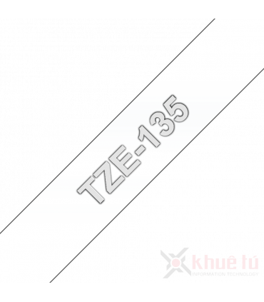 Brother TZe-135, khổ 12mm, dài 8m, White on Clear, chống thấm nước
